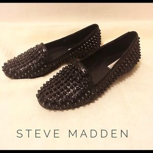 Spiked and glitter loafers
